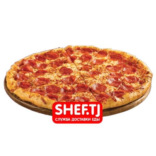Пицца с колбасой большая