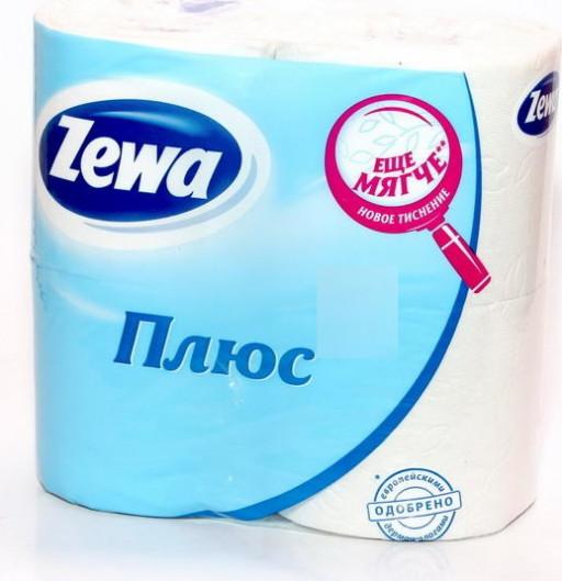 """Туалетная бумага плюс белая """"Zewa"""" 4шт"""