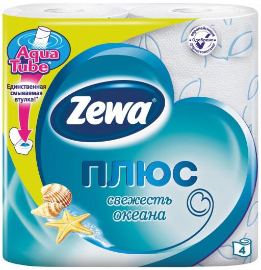 """Туалетная бумага плюс океан """"Zewa"""" 4шт"""